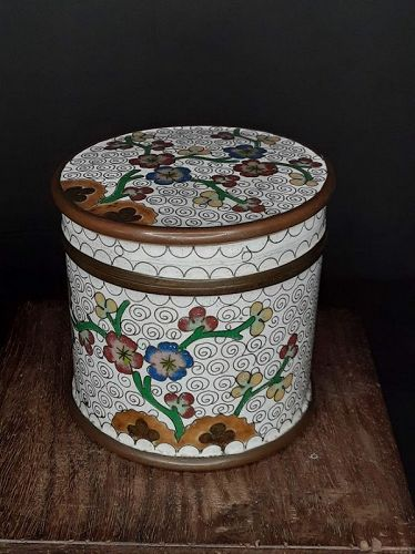Antique Chinese Cloisonné Humidor Tabaco or weed Stash jar
