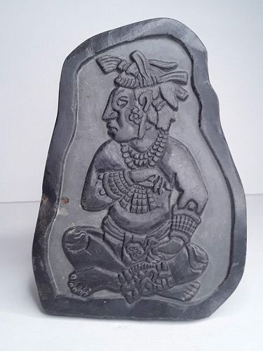 Hand carved Mayan style black stone carved Plaque