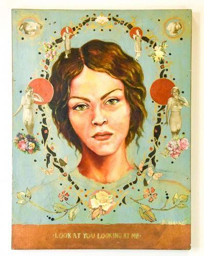 "Brandan Odums ""BMIKE"" original oil and collage on panel"