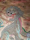 Antique Chinese Brocade embroidery silk panel with Foo Dog