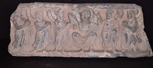 Gandharan Schist Carving of Buddha with Attendants 2nd -3rd c repaired