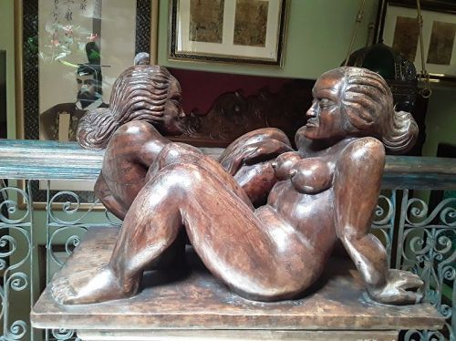 German Expressionist Mahogany sculpture Nude Lesbians Russian Signed