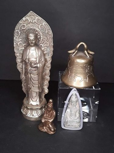 Asian Buddhist group lot Figures and bell