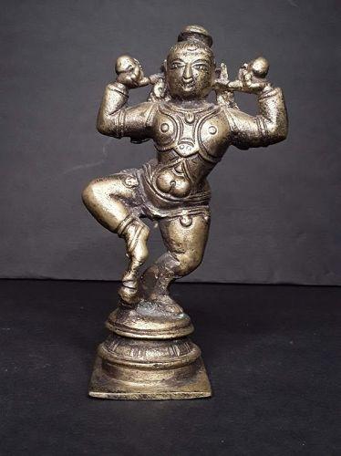 Hindu Bronze dancing Krishna figure
