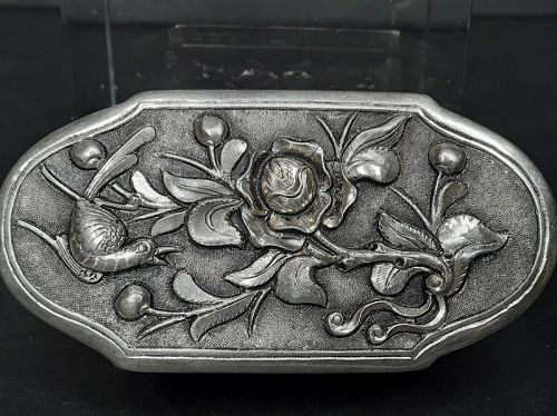 Antique Chinese Silver Opium stash Herb Box with repousse work