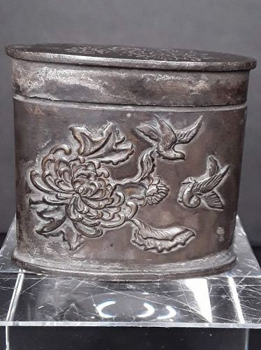 Chinese Paktong Oval Opium stash box with Floral Birds and Scholar