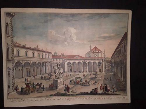 G Zocchi C 1754 view of Nunziata square with the statue of Ferdinand I