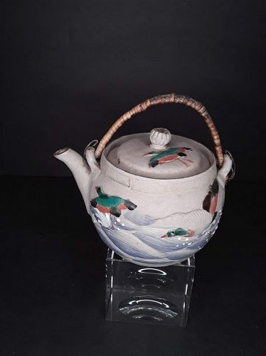 Vintage Japanese Grey Clay Banko Teapot with Mallard Ducks