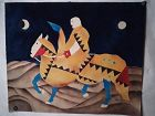Latin or Mexican original  Gouache Horse and rider signed Arevalo 91
