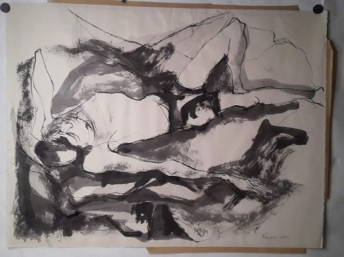 """Rosemary Zwick """"reclining Man"""" Ink on paper c 1950s"""