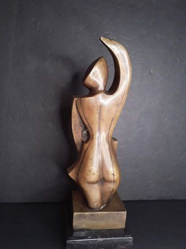 c1910s French Mixed Metal Cubist Nude female Cello