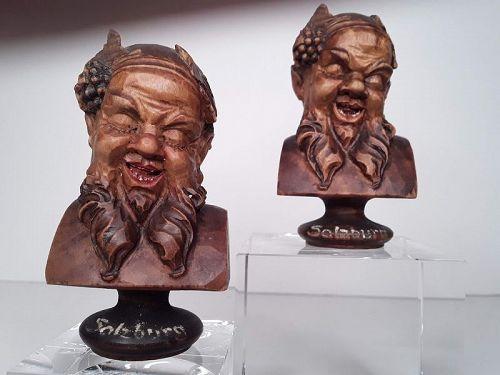 Vintage Salzburg Austria  wood carved Bacchus busts