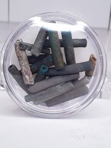 Tiny Egyptian Mummy bead tubes uncounted various colors