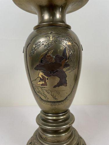 Fine Japanese Shakudo Bronze Ikebana  vase with Oni and Crain's