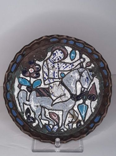 Rare Syrian Islamic saint on Horseback  Cuerda Seca Enamel Tray