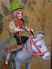 Pretty Paper Mache Pull Toy Girl on Donkey