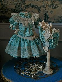 Superb French Aqua Silk Sateen Bebe Costume