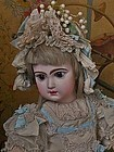 Superb French Couture Bebe Costume with Bonnet