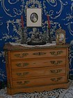 Superb Antique French Wooden Chest with Bronze Borders