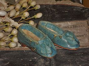 Rare early French Poupee Leather Slippers 1860 era ....