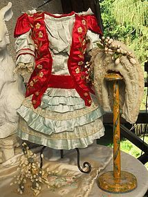Luxury Jumeau Red and Aqua Silk French Bebe Outfit with Bonnet