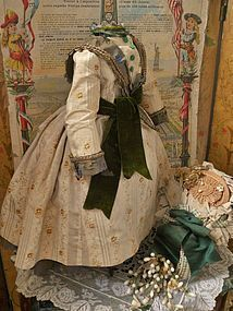 Very Nice Early Original 19th. Century French Silk Dress with Bonnet