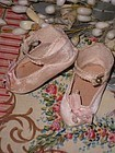 Very rare Factory Original Pink Silk Jumeau Shoes