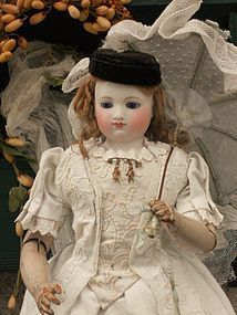 Marvelous Early French Poupee with Gorgeous Costume