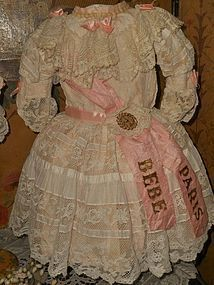 Stunning French Bebe Costume with Bonnet