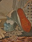 Rare Jumeau Couturier Silk Slippers with Gilt Lettering