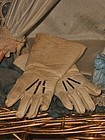 Pretty Jumeau Leather Gloves / Factory Original 1880