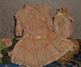 Beautiful French Pink Silk Bebe Costume with Bonnet