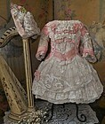 Romantic French Silk and Muslin Costume with Bonnet