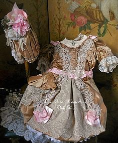 Stunning French Couture Bebe Costume with Bonnet