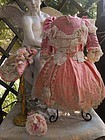 Beautiful French Pink Silk Costume with Antique Straw Hat