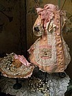 Beautiful French Bebe Costume with Straw Bonnet