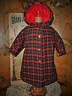 Jumeau Factory Scottish Woolen Coat Size 12 Bebe