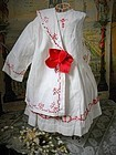 Pretty Two Piece Antique Pique Doll Costume from 19th. century