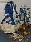 Superb French Blue silk Costume with matching Bonnet