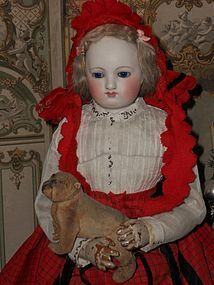 Beautiful Early French Poupee with Gorgeous Costume