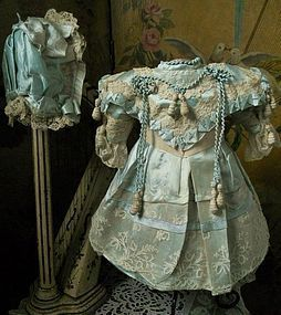 Most Beautiful Aqua Silk Costume with Bonnet