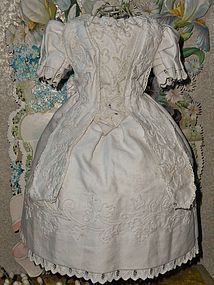 Pretty White Enfantine Pique Cotton Gown for Early Poupee