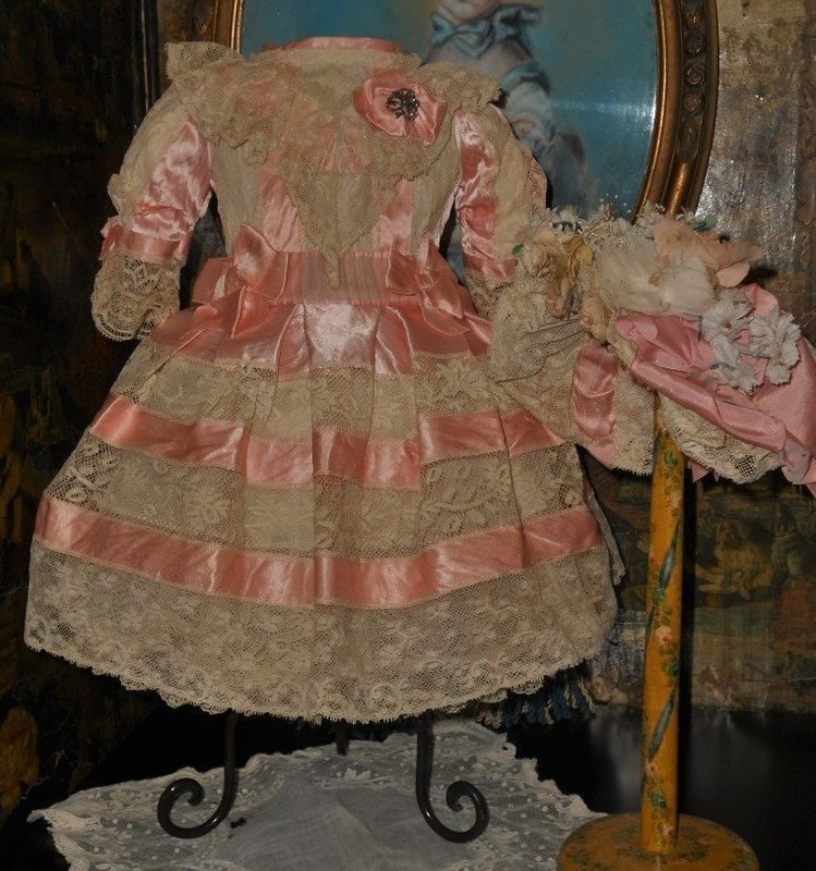 Very Beautiful French Bebe Costume with Bonnet.... Pretty in Pink ...