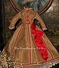 Beautiful Antique Poupee Gown / circa 1875