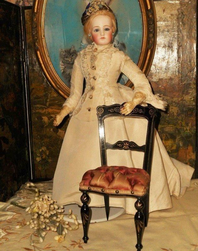 Elegant French Ebony Salon Chair