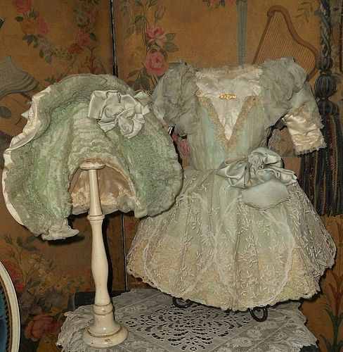 Sea-Green French Silk Gown with Gorgeous Bonnet