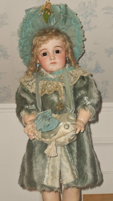 Gorgeous French Sea-Green Silk Plush Bebe Coat with Bonnet and Muff