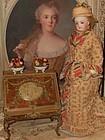 Rare Antique Miniature Romantic Lady Desk with Rich Ornamentation