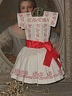 Beautiful Antique Pique Doll Dress with Hand Embroidery