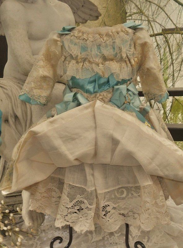 Pretty French Bebe Silk Costume with matching Bonnet